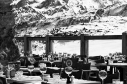 Cave des Creux restaurant terrace and views in Courchevel