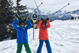 Children in private ski lesson on Courchevel slopes