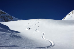 Fresh tracks in the powder off piste in Courchevel