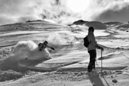 An off piste ski lesson in Meribel with lots of powder snow