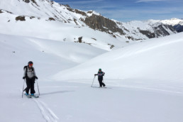 Off piste ski touring in the Les Avals valley in Courchevel