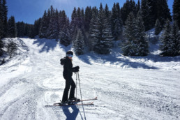 A private ski lesson for an intermediate skier