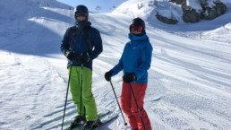 A private ski guiding group on the piste in Courchevel
